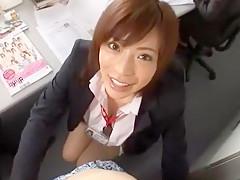 Horny Japanese chick Aya Sakurai in Exotic Secretary JAV scene