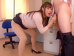 Horny Japanese chick Reika Yoshizawa in Exotic Threesome, Swallow Сum JAV scene