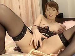 Amazing Japanese slut in Incredible Masturbation, Stockings JAV clip