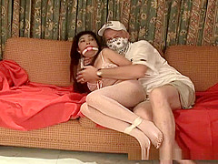Lovely Asian babe here hogtied and felt out
