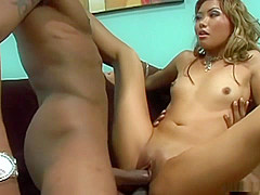 Lana Croft has double penetration time with two men