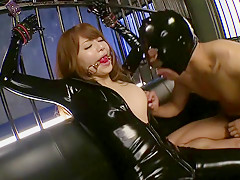 Fabulous Japanese girl Akiho Yoshizawa in Exotic latex, facial JAV movie