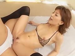 Crazy Japanese chick Akane Hotaru in Fabulous Threesomes, Stockings/Pansuto JAV scene