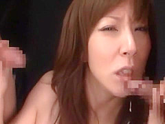 Hottest Japanese model in Exotic Threesome, Facial JAV movie